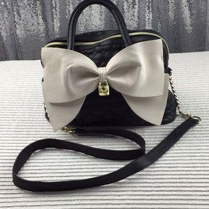 Betsy Johnson Quilted Black Bag cream large bow.